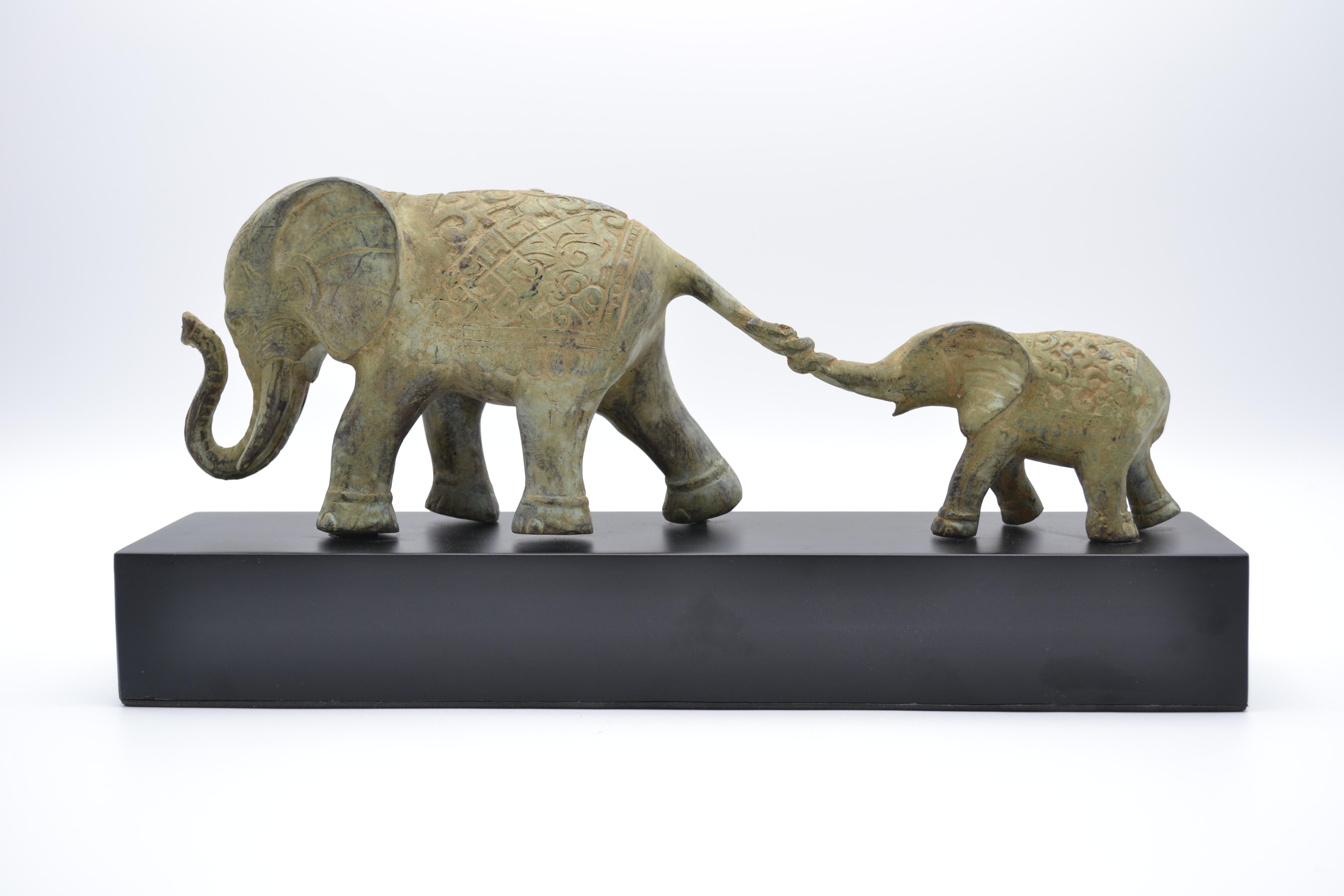 Eléphant & éléphanteau bronze