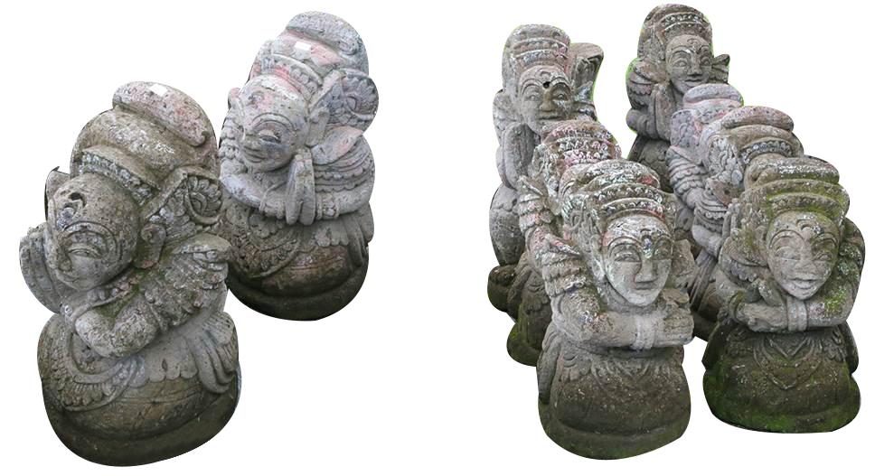 Set de 2 personnages Balinais en pierre