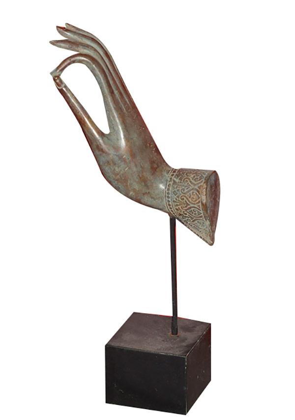 Main de bouddha en bronze