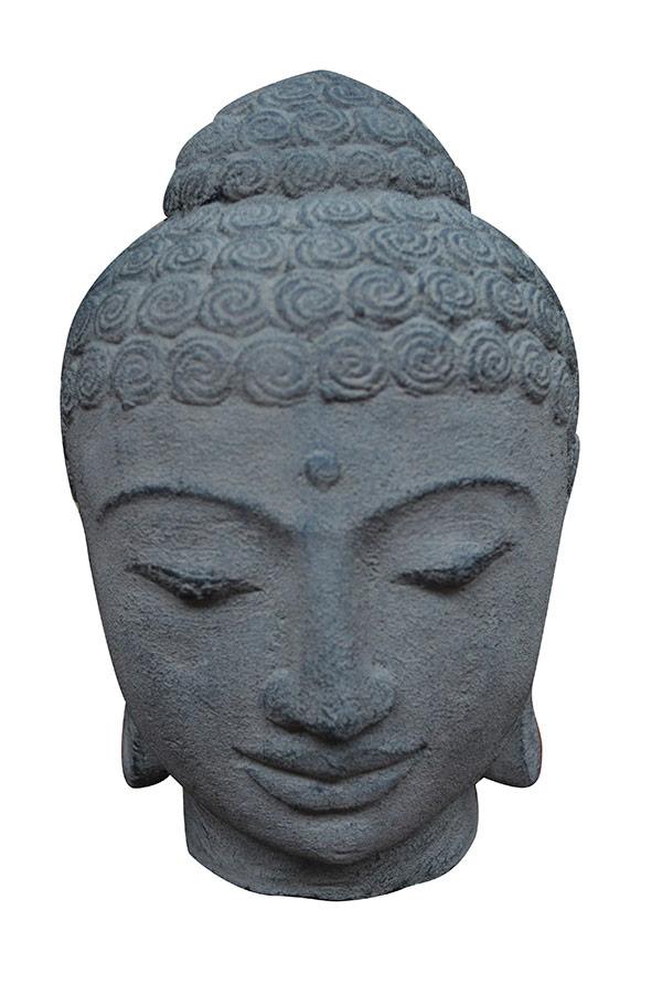 Tête bouddha en pierre de lave
