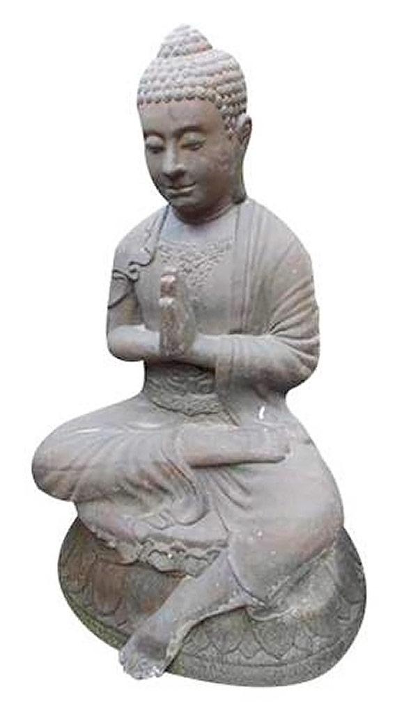 Bouddha assis  prieur pierre de lave 1
