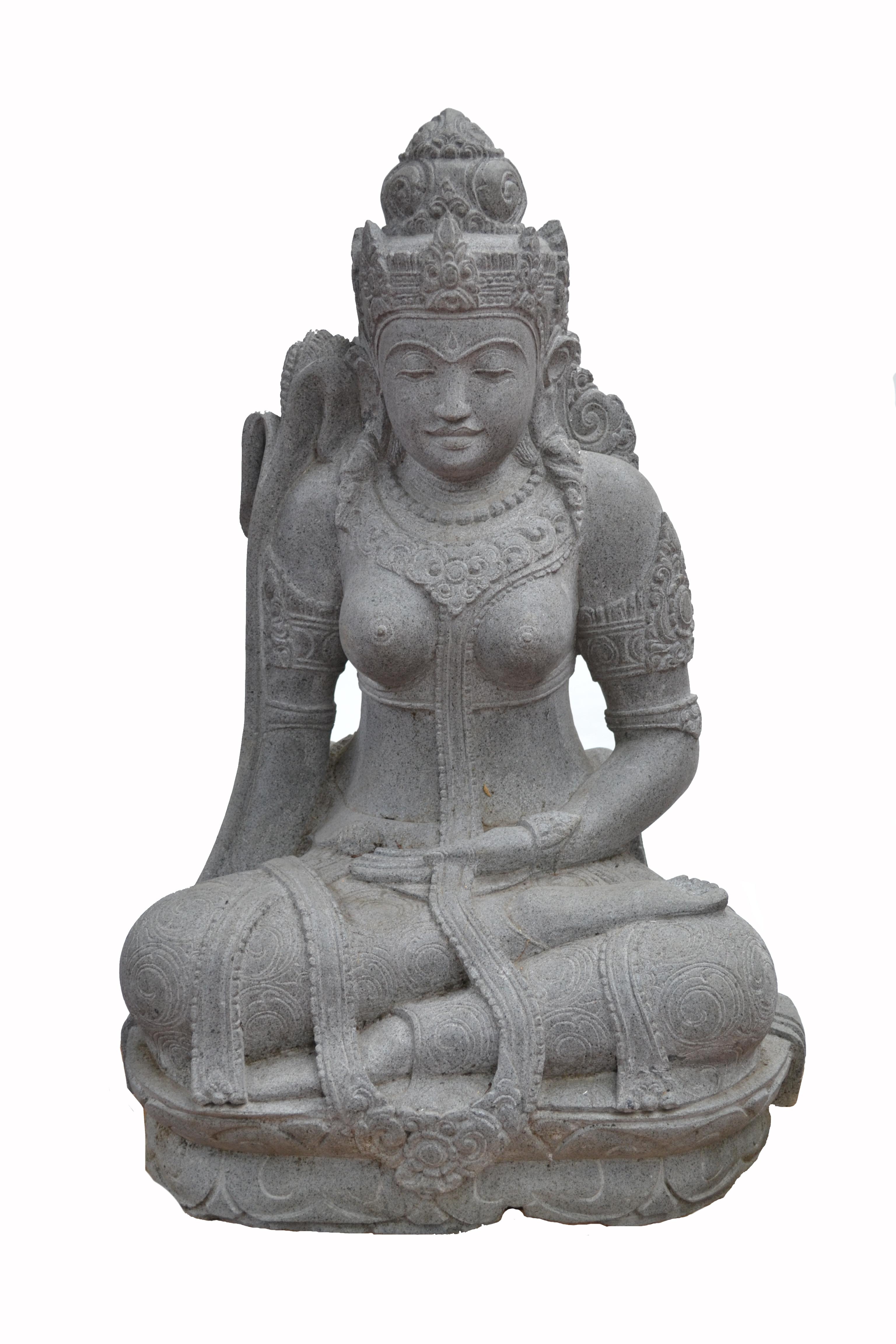 Déesse Tara en pierre de lave sculpté